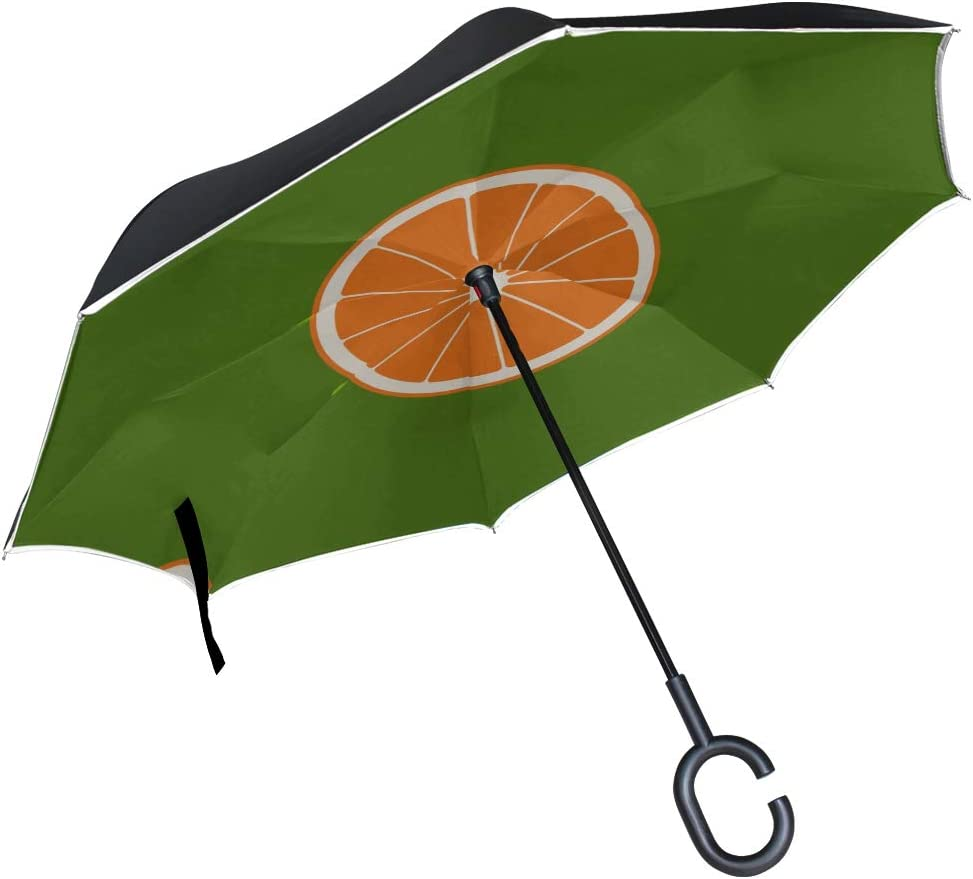 Double Layer Inverted Inverted Umbrella Is Light And Sturdy Simple Grapefruit On Green Reverse Umbrella And Windproof Umbrella Edge Night Reflection