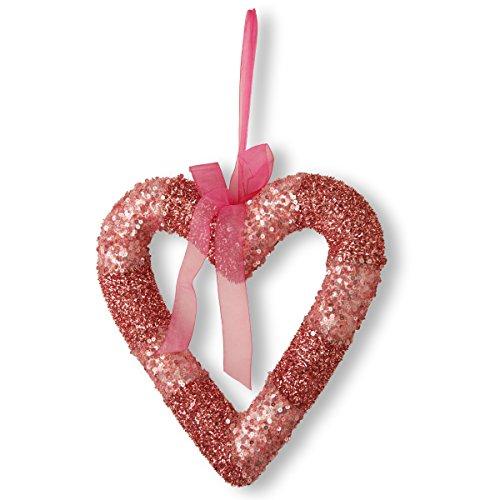 (National Tree 11 Inch Pink Beaded Heart Shaped Valentine Wreath (RAV-HY12008P-1))