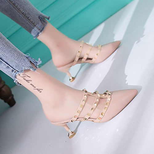 Rivets women Heeled Heeled Patent High slippers Heels Shoes WHLShoes High Leather yellow Feminine 5E1aqwnn