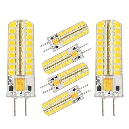Gy6.35 50w Halogen Bulb - GY6.35 G6.35 LED Light Bulb Dimmable,GY6.35 Bi-pin Base 5W AC/DC 12V Daylight White 6000K-6500K G6.35/GY6.35 Base T4 JC Type LED Halogen Incandescent 50W Replacement Bulbs(6 Pack)