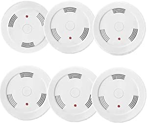 6 Pack Battery Operated Smoke Detector Alarm