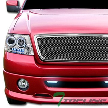 Chrome Honeycomb Mesh Front Bumper Center Hood Grill Grille Abs F150 Truck