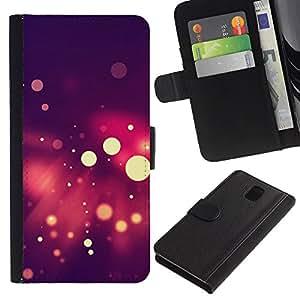 JackGot ( Spots Bokeh púrpura ) Samsung Galaxy Note 3 III la tarjeta de Crédito Slots PU Funda de cuero Monedero caso cubierta de piel