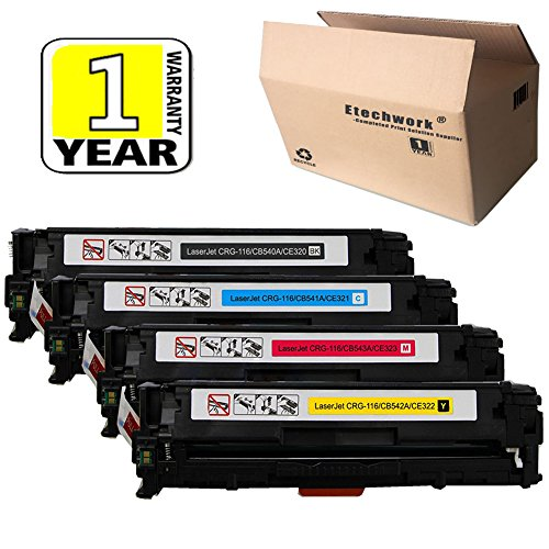 (Etechwork Compatible 125A CB540A CB541A CB542A CB543A Toner Cartridge 1 Set (Black,Cyan,Yellow,Magenta) Replacement for Color LaserJet CM1312NFI CM1312 MFP CP1215 CP1518NI CP1515N)