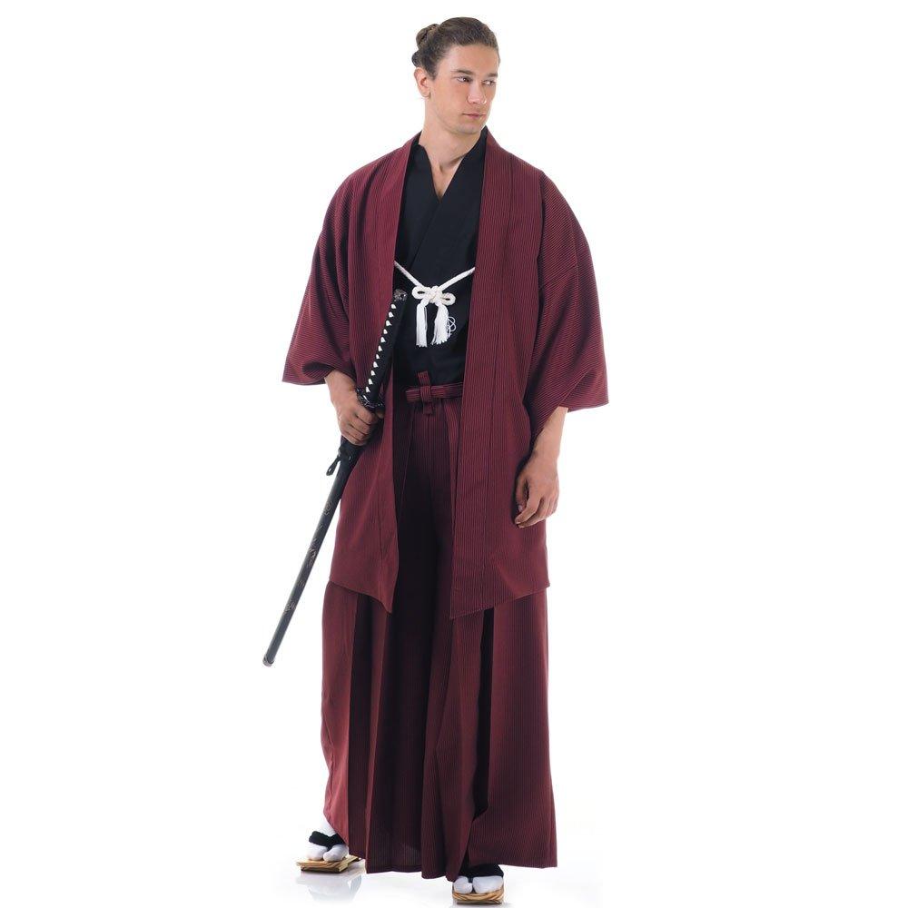 Japan Samurai Kimono Set 3 Teile Kendo Gi + Hakama + Haori Baumwolle One Size M L XL Weinrot & Schwarz HM10