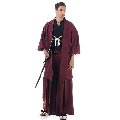934c92576 Kendo Japan Samurai Kimono Set 3 Gi + Hakama HAORI Cotton One Size M L XL  Wine