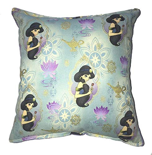 Jasmine Pillow Aladdin Princess Jasmine Pillow 10 inches by 11 inches Handmade Hypoallergenic Cotton with Flannel Backing Ideal for Gift and Multiple Uses