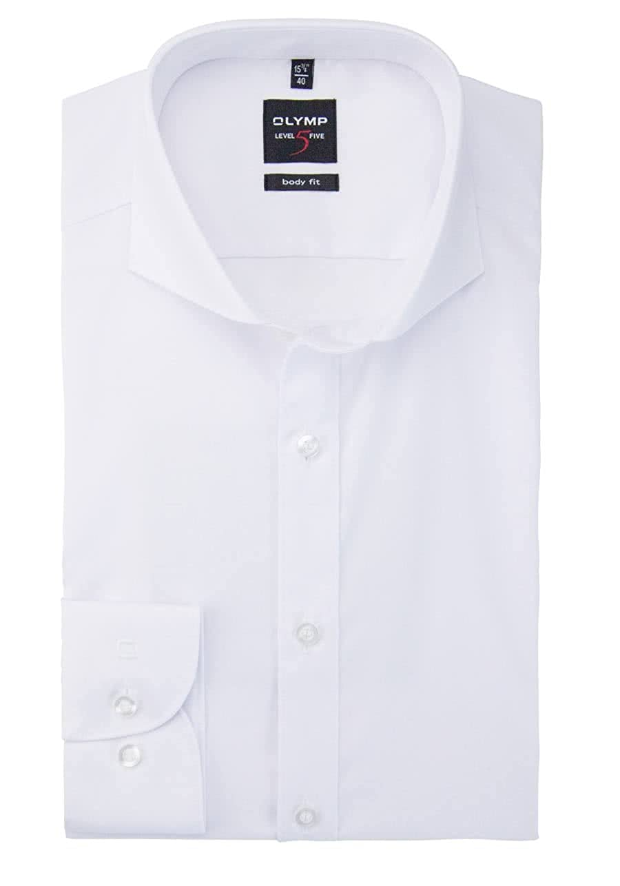 Olymp Level 5 Body Fit Camisa de manga larga para hombre Wei/ß 41