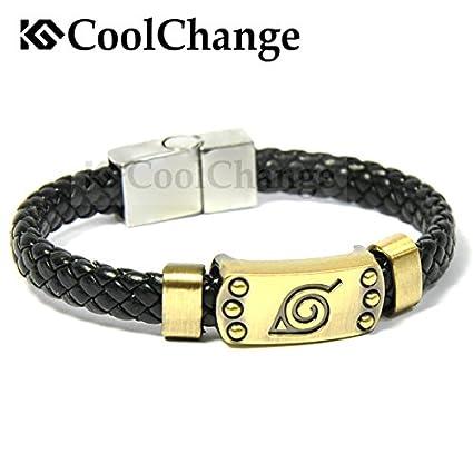 CoolChange Bracelet en Cuir de Naruto avec Logo Konohagakure