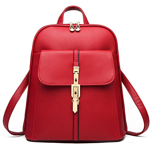 School Red Leather Rucksack Wine Bag Backpack Shoulder Office Women Travel Satchel Faux axqPXX
