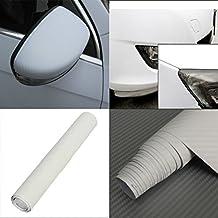 "12""x50"" 30x127cm 3D Carbon Fiber Film Wrap Vinyl Decal Car body Wrap Sticker Sheet (White)"