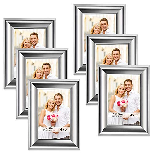 LaVie Home 4x6 Picture Frames(6 Pack,Silver) Photo Frame Set with High Definition Glass for Wall Mount & Table Top Display