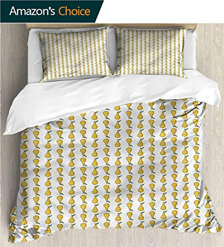 carmaxs-home Full Queen Duvet Cover Sets,Box Stitched,Soft,Breathable,Hypoallergenic,Fade Resistant Bedding Set for Teen 3Pcs-Pear Cartoon Fruit Pattern (80