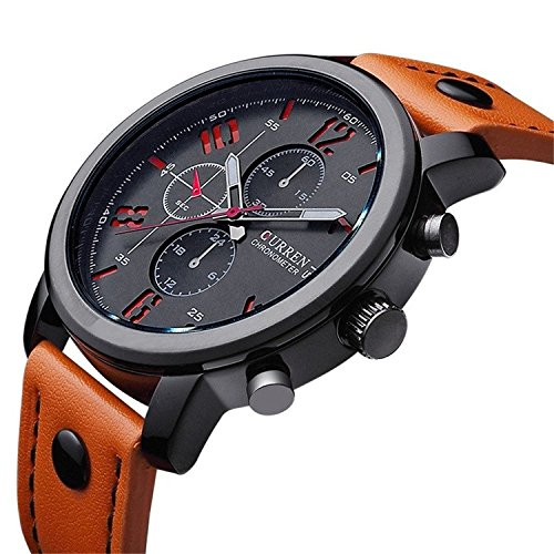 Mens-Watches-Big-Dial-Leather-Strap-Decorate-Sub-dials-Wristwatch-Water-Resistant-Quartz-Watch-Orange