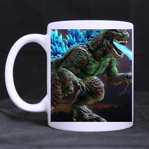 Godzilla Custom White Coffee Mug Tea Cup 11 OZ Office Home Cup (Printed on two sides) (Godzilla Coffee Cup compare prices)