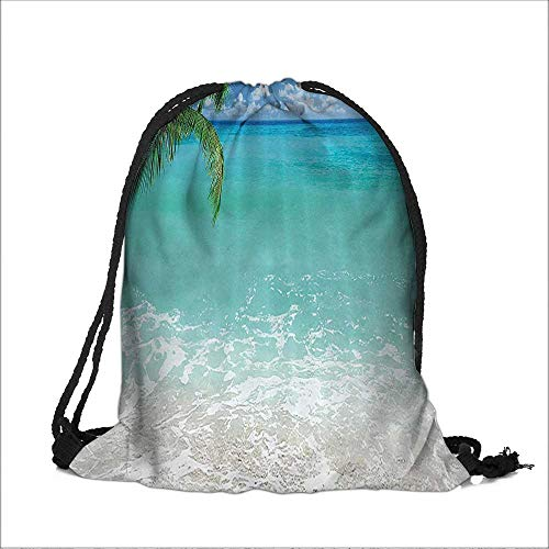 - Drawstring Cotton Linen Cloth Leban ach Panoramic Sea and Clear Sky Bathroom Craft Gift Storage Pocket Bag 14