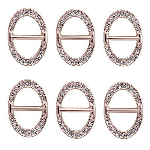 ZHU YU CHUN 6 Pcs Luxury Fashionable Oval Rhinestone Metal Scarf Ring Buckle, Silk Neckerchief Clasp Clips for Women Girls Gift (Rose Gold) - Female Buckle