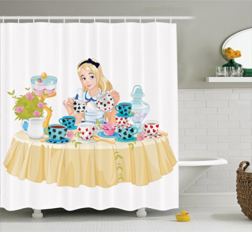 Ambesonne Alice in Wonderland Decorations Collection, Alice Pours Cup of Tea Eats Cupcakes Flowers Pottery Wonderland Fantasy, Polyester Fabric Bathroom Shower Curtain Set with Hooks, Multi