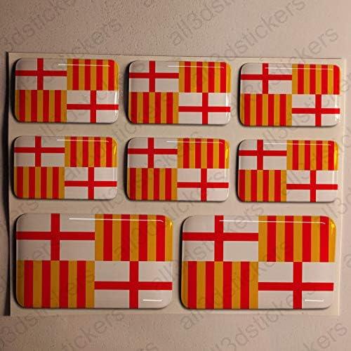 Pegatinas Barcelona España Resina, 8 x Pegatinas Relieve 3D Bandera Barcelona España Adhesivo Vinilo: Amazon.es: Coche y moto