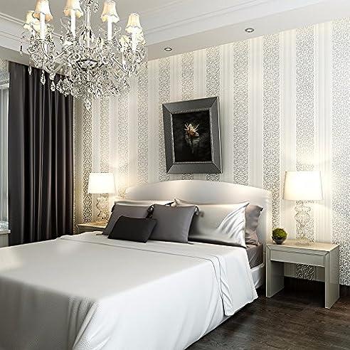 HUANGYAHUI Einfache Europäische Non Woven Gestreifte Tapete, 3D Weiß Grau  Tapeten, Schlafzimmer