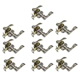 10 Pack Probrico Wave Style Door Levers Interior Bedroom Entrance One Keyway Entry Keyed Alike Door Lock Lockset in Satin Nickel with 30 Keys