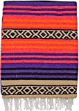El Paso Designs Peyote Hippie Blanket Classic Mexican Style Falsa Stripe Pattern in Vivid Peyote Colors. Throw, Bed, Tapestry, or Yoga Blanket. Hand Woven Acrylic, 57'' x 74'' (Peyote 13)