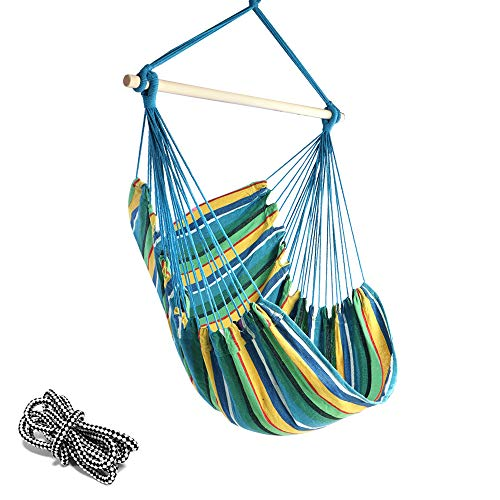 Single Swing Rope Cotton - Chihee Hammock Chair 330 Pound Capacity Large Hammock Chair Relax Hanging Swing Chair Cotton Weave for Superior Comfort & Durability Perfect for Indoor/Outdoor Home Bedroom Patio Deck Yard Garden