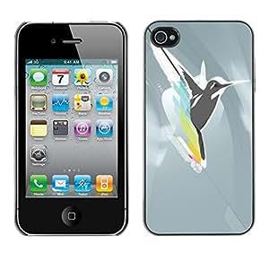 Cubierta de la caja de protección la piel dura para el Apple iPhone 4 / 4S - Cool Abstract Bird Hummingbird Fly