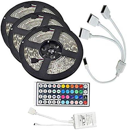WXQ-XQ 15M SMD3528防水RGB LEDストリップ900テープライトキット+ 44のキーコントローラ+ケーブルコネクタDC 12V LED装飾ライトバー 装飾ランプ