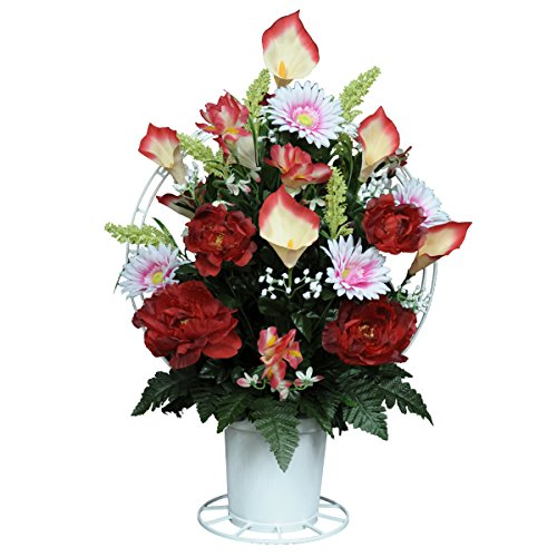 Red Peonies with Calla Lilies and Daisies Silk Flower Basket by Sympathy Silks® (BA1563) (Lily Basket)