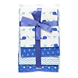 Cribmates 4-Pack Flannel Receiving Blankets - blue, one size