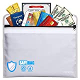 Fireproof Document Bag with Pockets Anti-Irritation 15 x 11 Silicone Coated Fire Water Resistant Money Bag Fireproof Safe Storage for Money, Documents, Jewelry and Passport