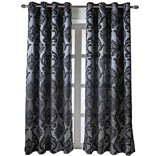 (NAPEARL European Style Jacquard Semi-Blackout Grommet Top Window Curtain Panel Set of 2 Panels (Black, 52