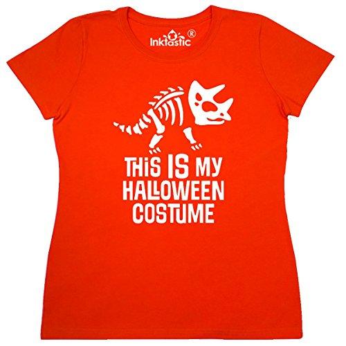 1020's Costume Ideas (Inktastic - Dinosaur Skeleton Halloween Costume Women's T-Shirt Small Orange)