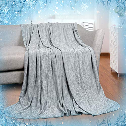 Cooling BlanketJapanese Q-Max 0.4 Technology keep cool in hot summer 51X 67 inches twin or baby sized Summer blanket for Children Babies. Mica Nylon and PE Cool Fabric Breathable Comfortable -Gray