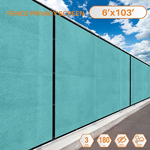 Screens 103' (Sunshades Depot Tang Privacy fence screen 6' x 103' 180 GSM Heavy Duty Commercial Windscreen Residential Fence Netting Fence Cover 88% Privacy Blockage with excellent Airflow 3 Years Warranty)