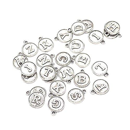 gu6uesa8n Round Shape A-Z Letter Pendant Personalized Necklace Bracelet Jewelry DIY Handmake for Girls 26Pcs (Non Chain) - Antique -