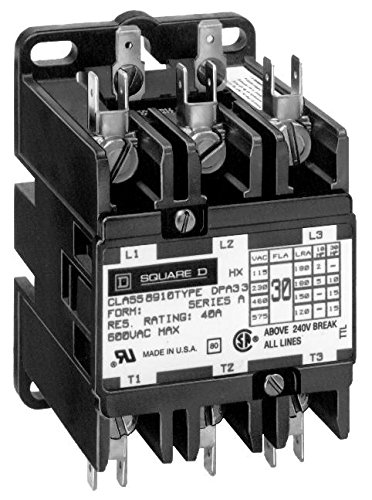 3 Pole, 60 Amp Inductive Load, 208 to 240 Coil VAC at 60 Hz and 220 Coil VAC at 50 Hz, Definite Purpose Contactor