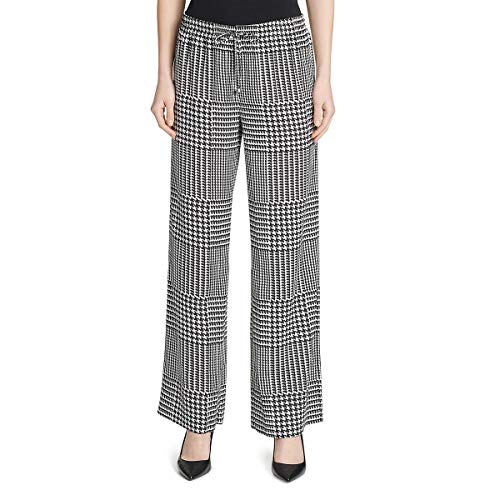 Calvin Klein Womens Houndstooth Palazzo Wide Leg Pants B/W L Black/White ()