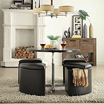 Amazon bingley creek 5 pc cocktail set space saver bar table bingley creek 5 pc cocktail set space saver bar table and 4 stool chairs storage ottomans watchthetrailerfo