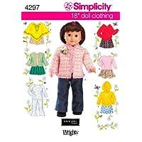 Patrón de costura de simplicidad 4297 Ropa para muñecas, talla única