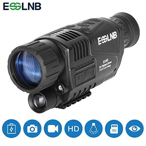 ESSLNB Night Vision Monocular 5X40 Night Vision Infrared IR Camera HD Digital Vision Scope Recording Image and Video Playback Function 8GB TF Card 656ft in Full Darkness for Hunting Security ()