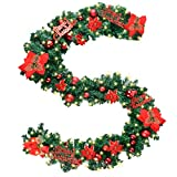 "Coxeer Christmas Garland, 9 Ft Holiday Graland Flower Artificial Pine Garland with ""Merry Christmas""Font 100 Warm White Battery Operated LED Lights for Christmas Decor (Red)"
