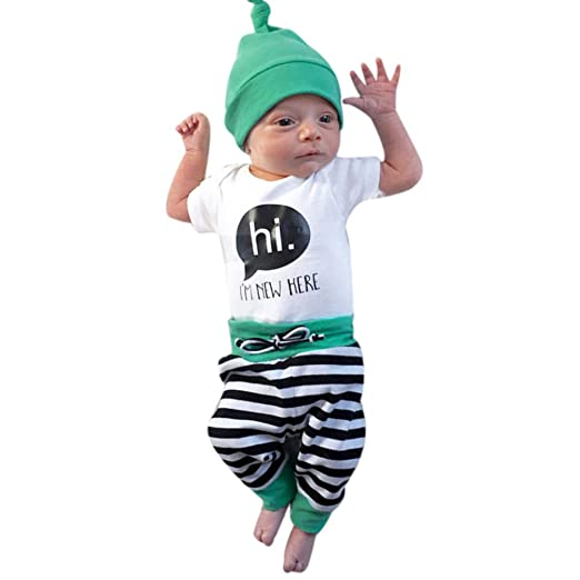 ce5a26b30473 chinatera Unisex Baby Girls Fall Winter Clothes Short Sleeve Letter Printed  Rompers+Striped Pants+
