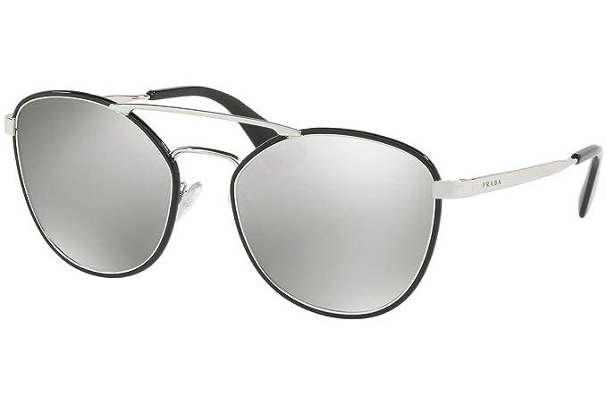 e191f9950b9b PRADA Women s 63TS 0Pr63Ts 1Ab2B0 55 Sunglasses Black Lightgreymirrorsilver