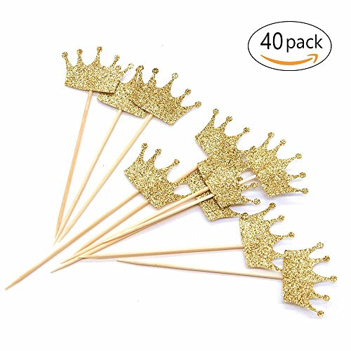 Gold Glitter Crown Cupcake Toppers Cake Decoration for First Birthday, Birthday Party, Baby Shower, Wedding - 40 Pack ()