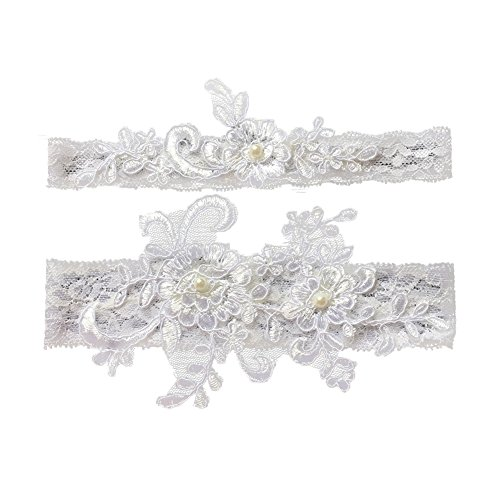 Bueer Wedding Bridal Lace Garter Set Keepsake Toss Tradition Vintage, 2pc (03-white)