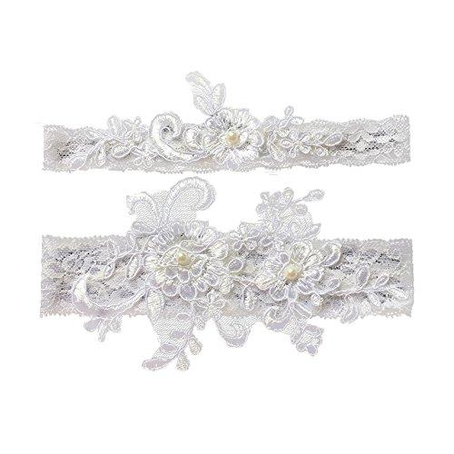 (canjoyn Wedding Bridal Lace Garter Set Keepsake Toss Tradition Vintage (03-white) )