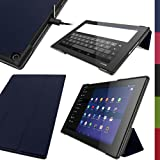 "iGadgitz Premium Dark Blue PU Leather Smart Cover Case for Sony Xperia Z2 Tablet SGP511 10.1"" with Auto Sleep/Wake + Multi-Angle Viewing Stand + Screen Protector"
