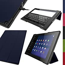 """iGadgitz Premium Dark Blue PU Leather Smart Cover Case for Sony Xperia Z2 Tablet SGP511 10.1"""" with Auto Sleep/Wake + Multi-Angle Viewing Stand + Screen Protector"""